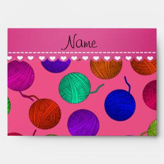 Personalized name pink rainbow yarn balls envelope
