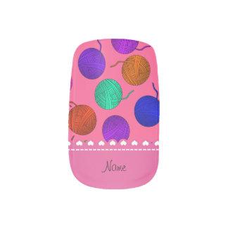 Personalized name pink rainbow yarn balls minx® nail wraps
