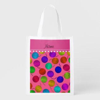 Personalized name pink rainbow yarn balls reusable grocery bag