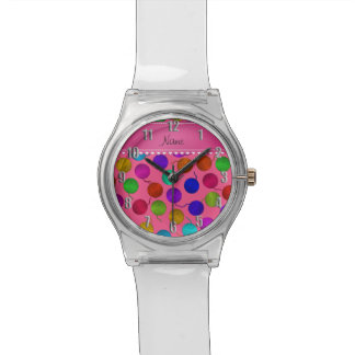 Personalized name pink rainbow yarn balls wristwatches