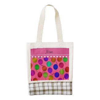 Personalized name pink rainbow yarn balls zazzle HEART tote bag