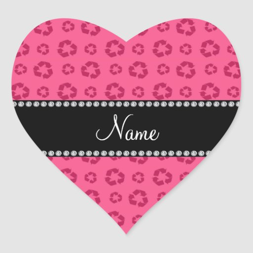Personalized name pink recycling pattern stickers