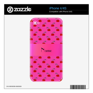 Personalized name Pink red cherries pink stripe Decals For iPhone 4