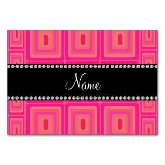 Personalized name pink retro colorful squares table card