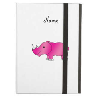 Personalized name pink rhino cover for iPad air