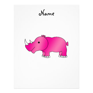 Personalized name pink rhino customized letterhead