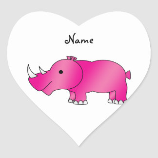 Personalized name pink rhino heart stickers