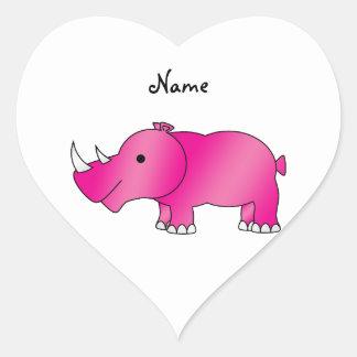 Personalized name pink rhino heart sticker