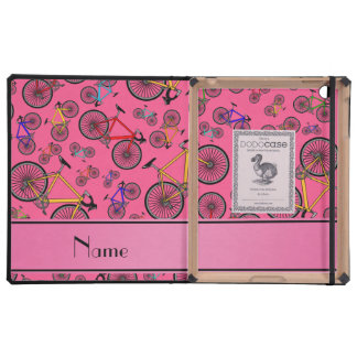 Personalized name pink road bikes iPad cases