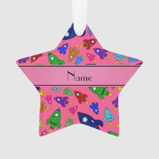 Personalized name pink rocket ships