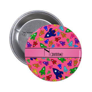 Personalized name pink rocket ships pin