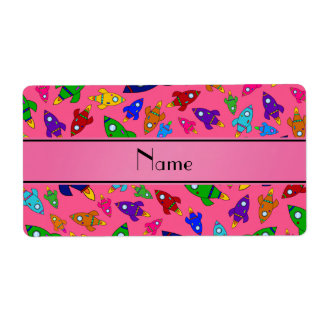 Personalized name pink rocket ships custom shipping label