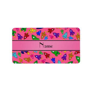 Personalized name pink rocket ships address label