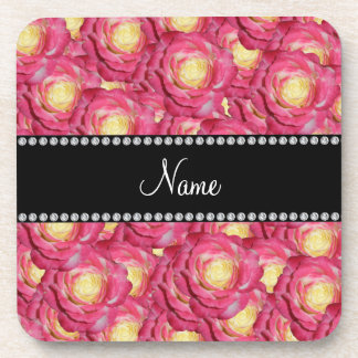 Personalized name Pink roses Drink Coaster