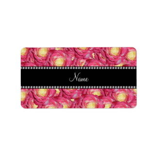 Personalized name Pink roses Address Label