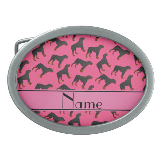 Personalized name pink rottweiler dog pattern oval belt buckle