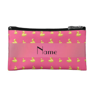 Personalized name pink rubber duck pattern cosmetic bags