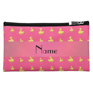 Personalized name pink rubber duck pattern cosmetic bag