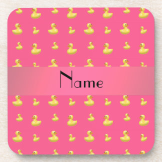 Personalized name pink rubber duck pattern beverage coaster