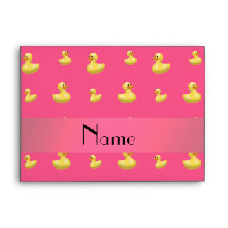 Personalized name pink rubber duck pattern envelopes