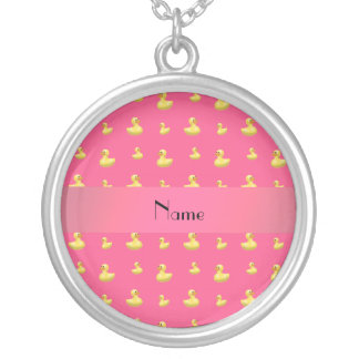 Personalized name pink rubber duck pattern custom necklace