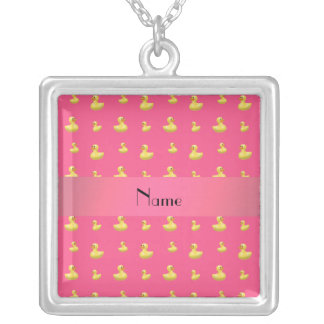 Personalized name pink rubber duck pattern personalized necklace