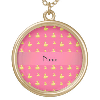 Personalized name pink rubber duck pattern necklace