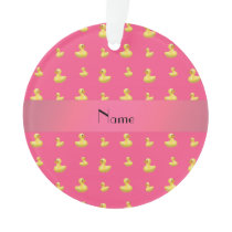 Personalized name pink rubber duck pattern ornament