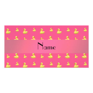 Personalized name pink rubber duck pattern photo card