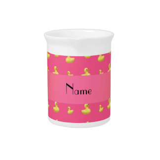 Personalized name pink rubber duck pattern pitchers