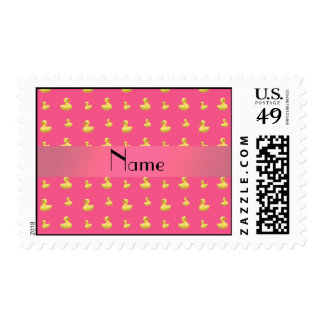 Personalized name pink rubber duck pattern postage stamp
