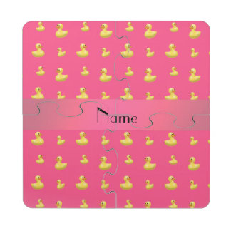Personalized name pink rubber duck pattern puzzle coaster