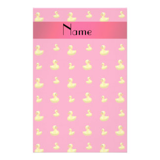 Personalized name pink rubber duck pattern customized stationery