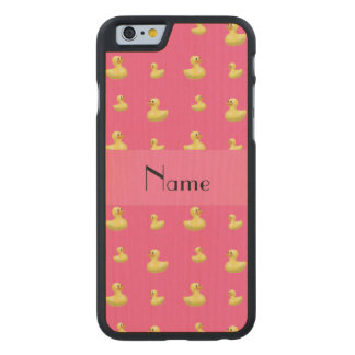 Personalized name pink rubber duck pattern carved® maple iPhone 6 slim case