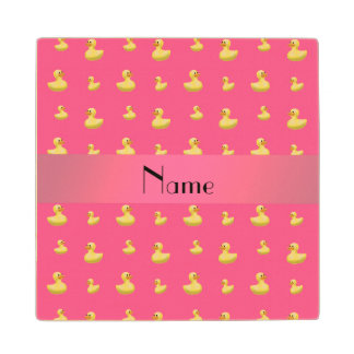 Personalized name pink rubber duck pattern wood coaster