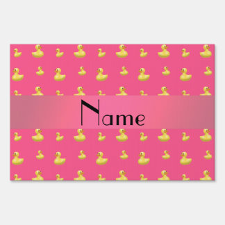 Personalized name pink rubber duck pattern lawn sign