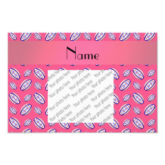 Personalized name pink rugby balls art photo