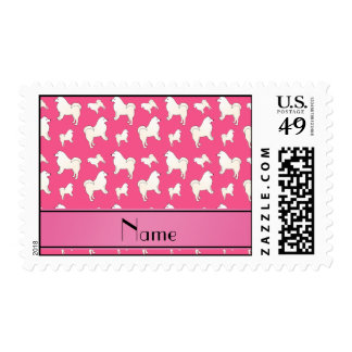 Personalized name pink Samoyed dogs Postage