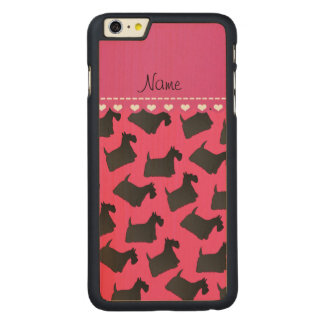Personalized name pink scottish terrier dogs carved® maple iPhone 6 plus slim case