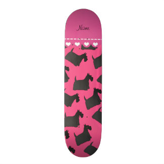 Personalized name pink scottish terrier dogs skate board deck