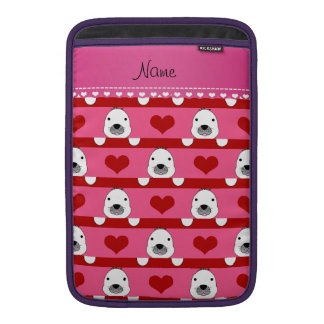 Personalized name pink seals red hearts stripes MacBook air sleeves