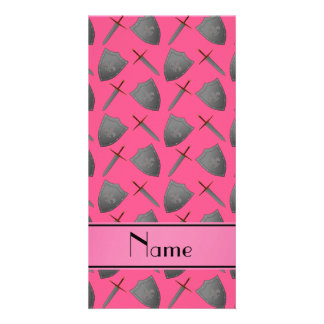 Personalized name pink shields and swords personalized photo card