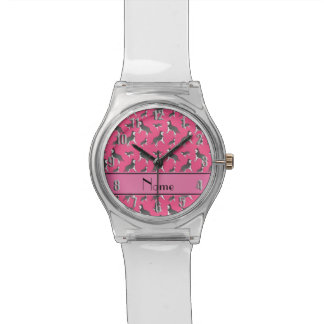 Personalized name pink siberian husky dogs watches