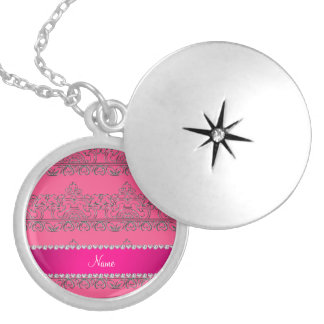 Personalized name pink silver lace round locket necklace