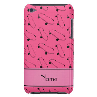 Personalized name pink skateboard pattern barely there iPod case