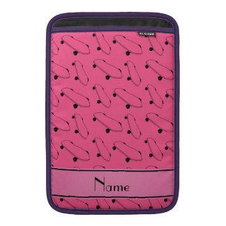 Personalized name pink skateboard pattern MacBook air sleeves