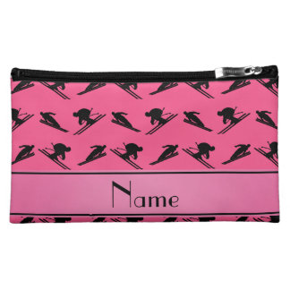 Personalized name pink ski pattern cosmetics bags
