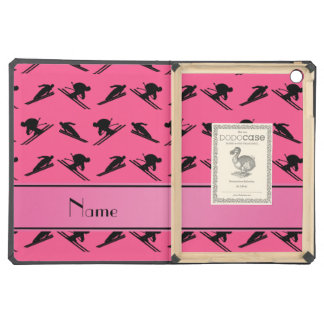 Personalized name pink ski pattern iPad air case
