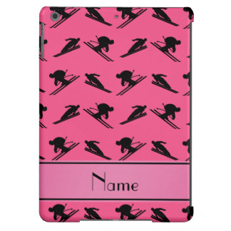 Personalized name pink ski pattern cover for iPad air