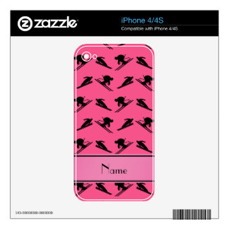 Personalized name pink ski pattern skins for iPhone 4